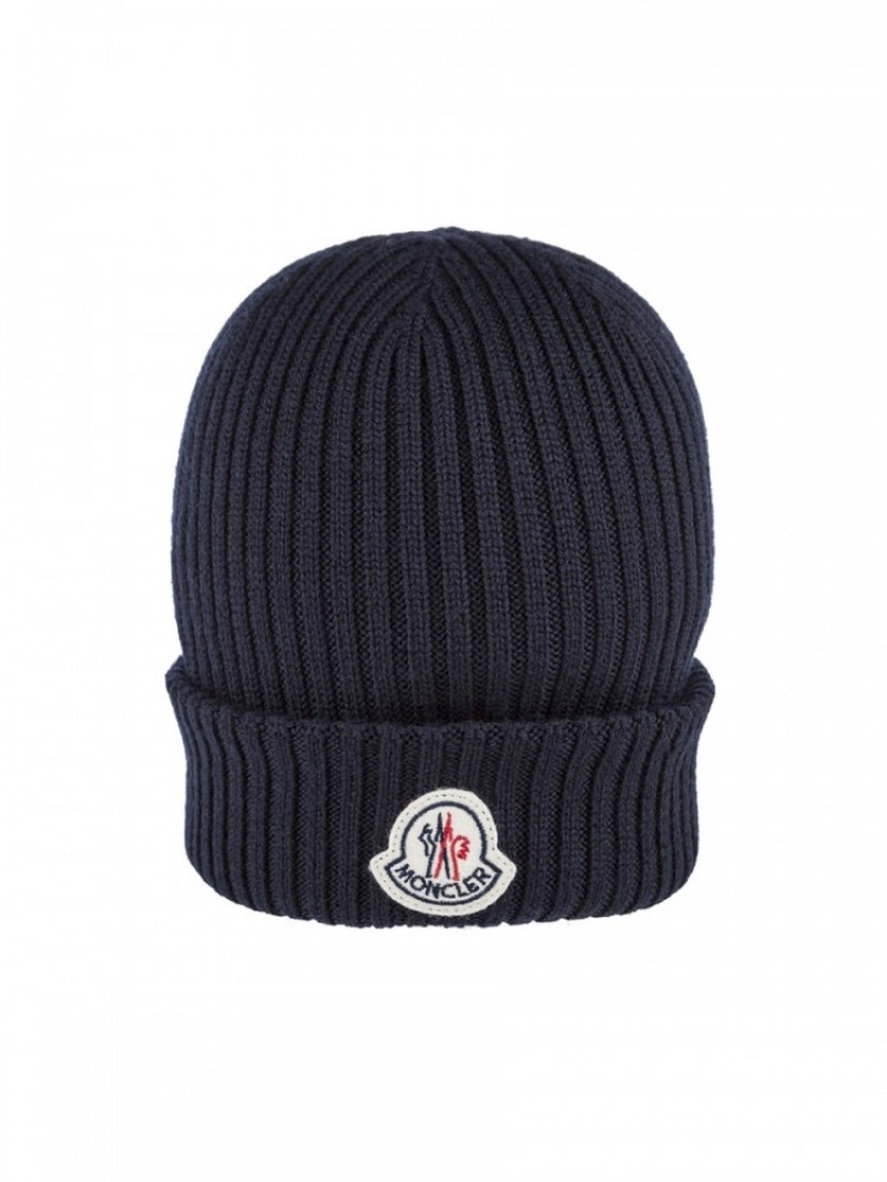 fb567f2a075 Moncler Navy Ribbed Wool Beanie