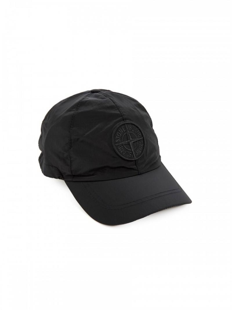 e9218a53e1854 Stone Island Black Metallic Compass Nylon Baseball Cap