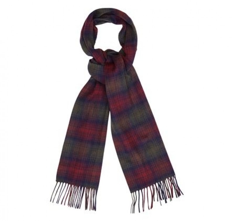 Barbour International Shadow Check Scarf Rosewood