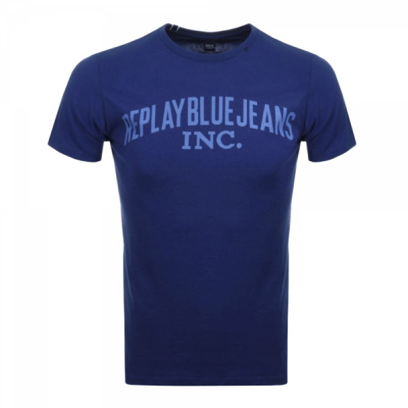 Replay Logo Crew Neck T-Shirt Navy
