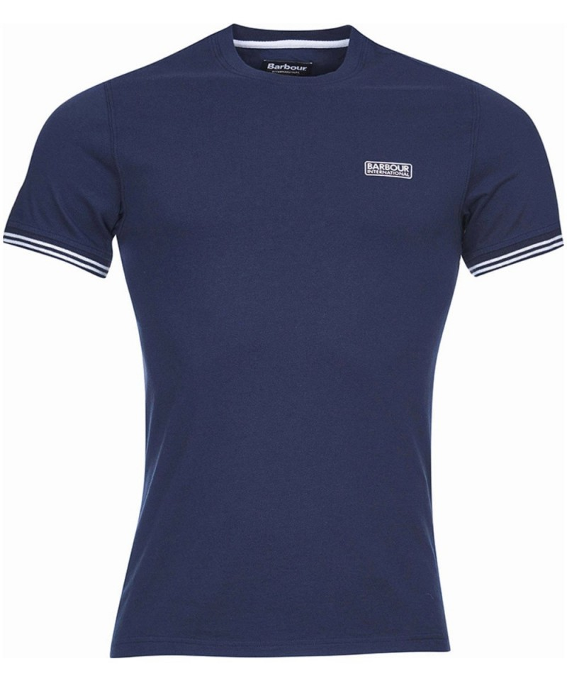 Barbour International Cable Tipped T-Shirt Navy