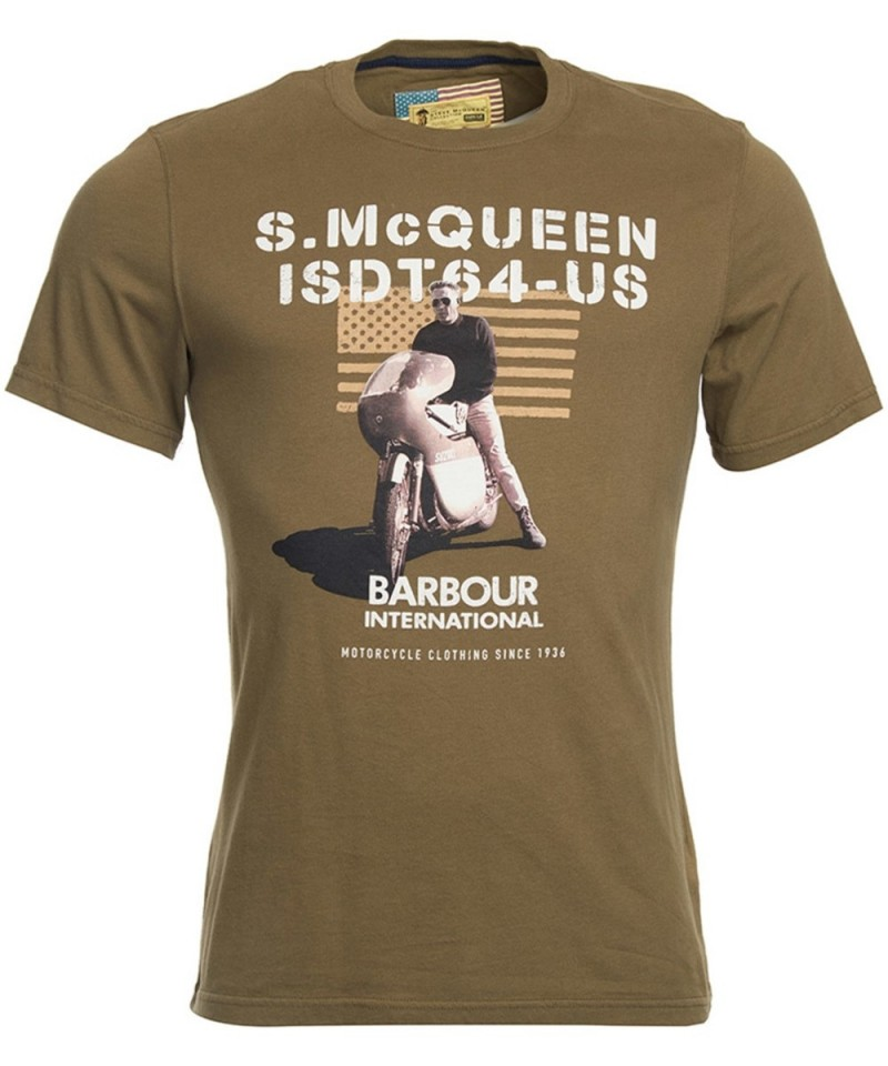 Barbour  International Military Flag Steve McQueen T-Shirt Mid Olive
