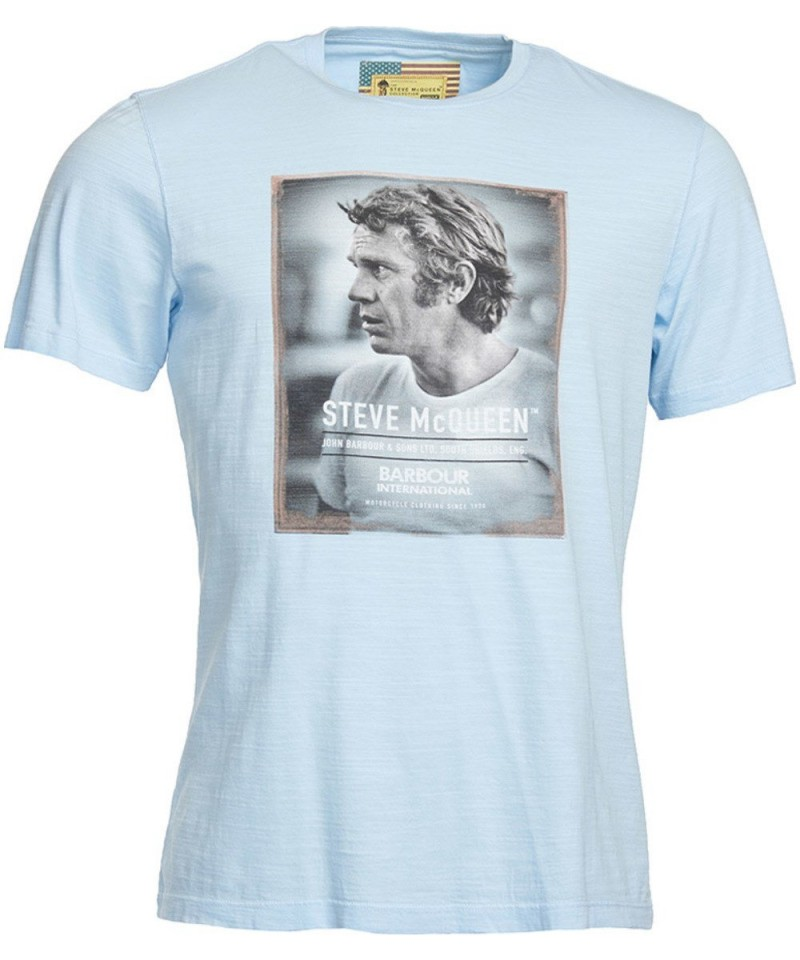 Barbour International Profile Steve McQueen T-Shirt Sky