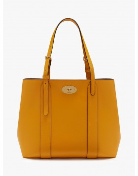 Mulberry Small Bayswater Classic Grain Leather Tote Bag, Deep Amber