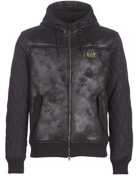 EA7 6GPBA5 Faux Leather Jacket - Black