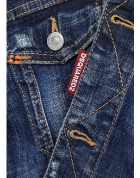 DSQUARED2  Dan blue distressed denim jacket