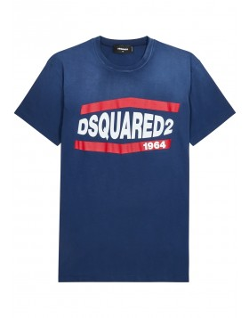 DSQUARED2  Blue logo-print cotton T-shirt