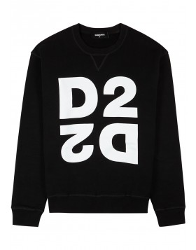 DSQUARED2  Black logo-print cotton sweatshirt