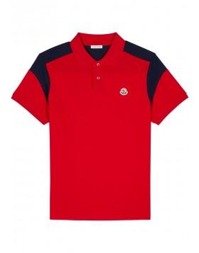 MONCLER  Manica red piqué cotton polo shirt
