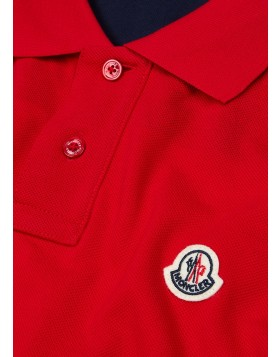 MONCLER  Manica red piqué cotton polo shirt