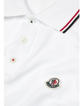 MONCLER  White piqué cotton polo shirt