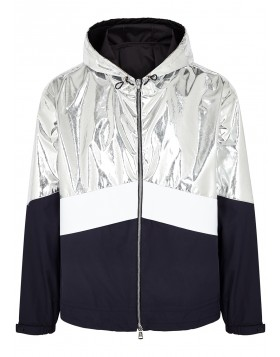 MONCLER  Quinic navy and silver shell jacket