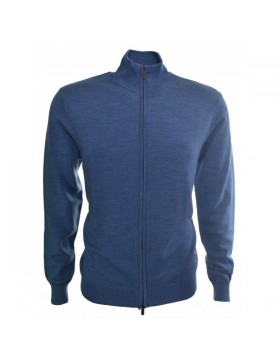 Armani Zip Knit Blue Melange