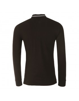 Armani Tipped Long Sleeve Polo Black