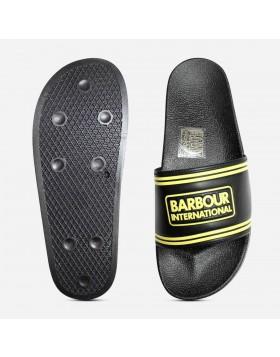 Barbour International Pool Slider Sandals - Black/Yellow