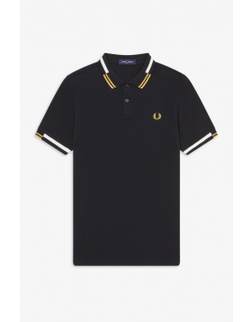 Fred Perry Abstract Tipped Polo Shirt Black