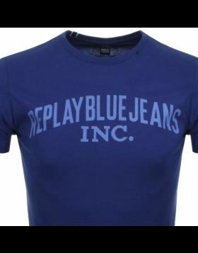 Replay Logo Crew Neck T-Shirt Navy