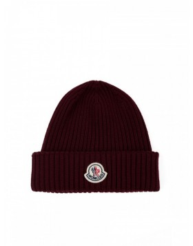 Moncler Burgundy Ribbed Knit Hat