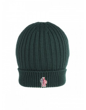 Moncler Green Ribbed Wool Beanie