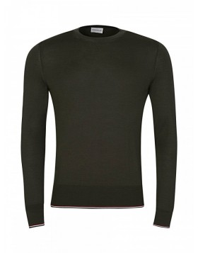 Moncler Khaki Crew Neck Knit Jumper