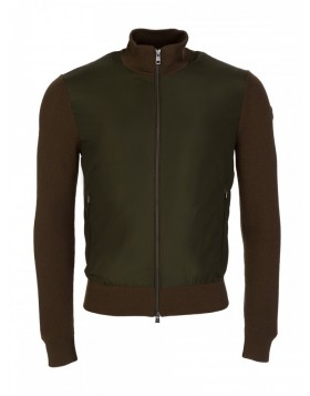 Moncler Khaki Zip Nylon Knitted Panel Bomber Jacket