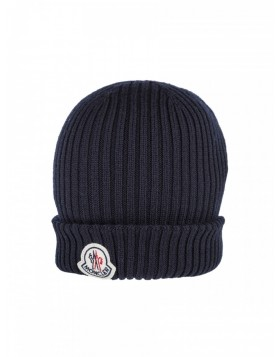 Moncler Navy Ribbed Wool Beanie
