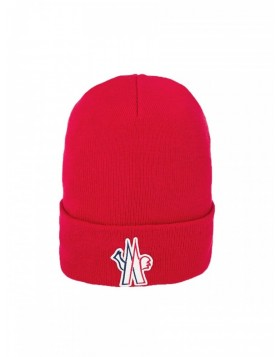 Moncler Red Logo Beanie Hat