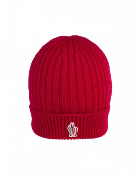 Moncler Red Ribbed Wool Beanie