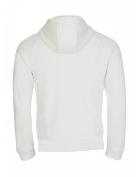 Moncler White Hooded Zip Through Logo Sweatshirt