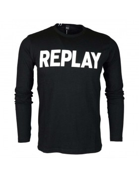 Replay Round Neck Logo L/S T-Shirt Black