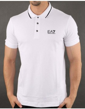 EA7 8NPF06 Tipped Polo Shirt - White