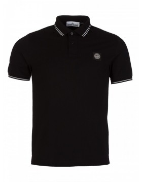 Stone Island Black Slim Fit Tipped Polo Shirt
