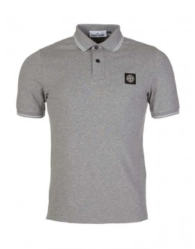 Stone Island Grey Logo Patch Polo Shirt