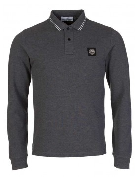 Stone Island Grey Piped Polo Shirt