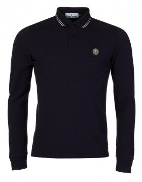 Stone Island Navy Tip Patch Slim Fit Polo Shirt