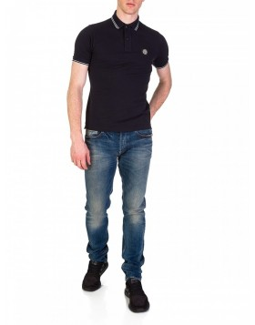 Stone Island Navy Twin-Tipped Slim Fit Polo Shirt