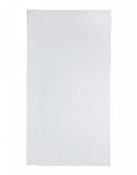Stone Island White Logo Beach Towel