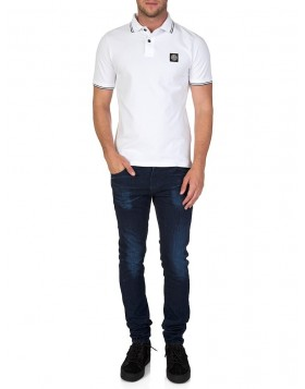Stone Island White Slim Fit Striped Trim Polo Shirt