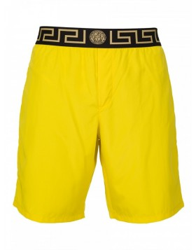 Versace Beachwear Canary Yellow Long Grecian Swim Shorts