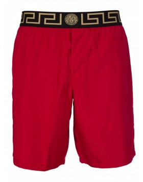 Versace Beachwear Ruby Red Long Grecian Swim Shorts