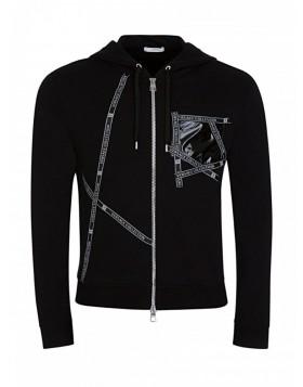 Versace Collection Black Tape Zip Hoodie