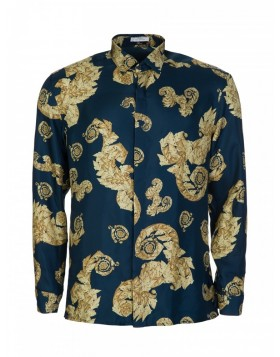 Versace Collection Blue Baroque Silk Shirt
