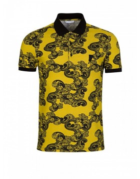 Versace Collection Yellow Baroque Polo Shirt