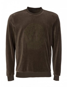 Versace Military Brown Embroidered Logo Velour Sweatshirt